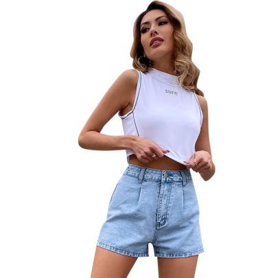 Women's High Waist Denim Shorts Nihaostyles Clothing Wholesale NSJM80034