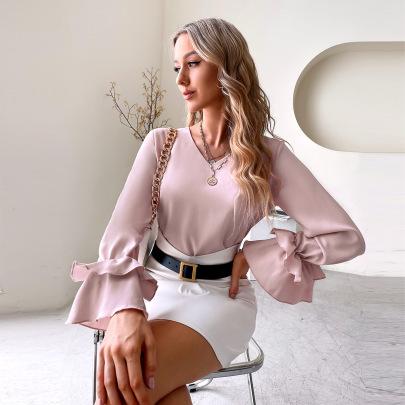 Women's Pure Color V-neck Shirt Nihaostyles Clothing Wholesale NSJM80035