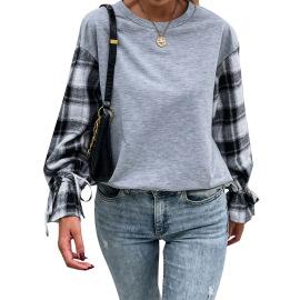 Women's Round Neck Slim Plaid Stitching Sweatshirt Nihaostyles Clothing Wholesale NSJM80036