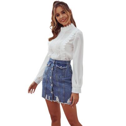 Women's Stitching Lace Long-sleeved Chiffon T-shirt Nihaostyles Clothing Wholesale NSJM80037