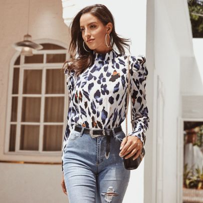 Women's Leopard Print With Lantern Sleeves Top Nihaostyles Clothing Wholesale NSJM80039