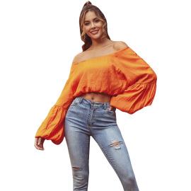 Women's Off-shoulder Lantern Sleeve Cropped Top Nihaostyles Clothing Wholesale NSJM80043