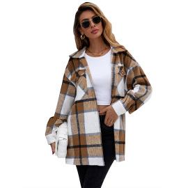 Women's Loose Lapel Plaid Jacket Nihaostyles Clothing Wholesale NSJM80044