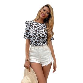 Women's Square Collar Daisy Drawstring Short-sleeved Shirt Nihaostyles Clothing Wholesale NSJM80047