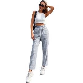 Women's High-waist Plaid Straight-leg Pants Nihaostyles Clothing Wholesale NSJM80053