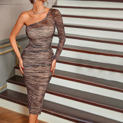 women's slanted shoulder long-sleeved striped mesh pleated dress nihaostyles clothing wholesale NSWX80054