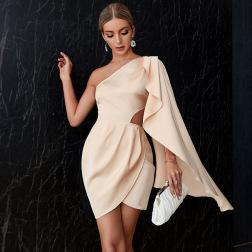 women's solid color oblique shoulder hollow dress nihaostyles clothing wholesale NSWX80060