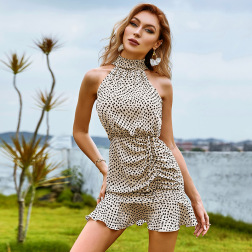 women's sleeveless halterneck drawstring pleated ruffled dress nihaostyles clothing wholesale NSWX80064