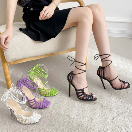 Women's Strap Square Toe High-heel Lace-up Sandals Nihaostyles Wholesale Clothing NSCA80081