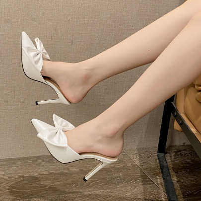 Autumn Women's Large Bow Pointed Stiletto High Heel Slippers Nihaostyles Wholesale Clothing NSCA80083