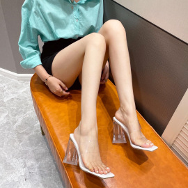 Women's Version Of High-heeled Transparent Triangle Heel Square Toe Slippers Nihaostyles Wholesale Clothing NSCA80084