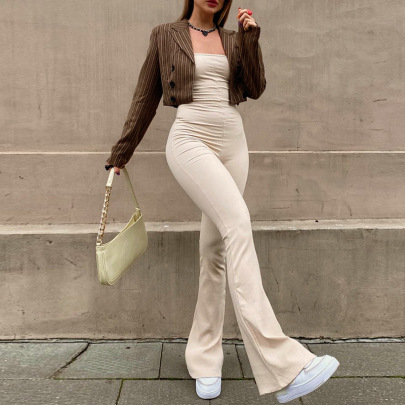 Autumn Women's Solid Color Sleeveless Lace-up Backless Jumpsuit Nihaostyles Wholesale Clothing NSSWF80098