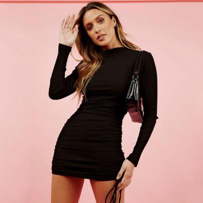 Women's Round Neck Package Hip Short Dress Nihaostyles Wholesale Clothing NSXMI80779