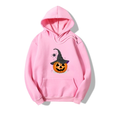Halloween Pumpkin Spider Print Fleece Hooded Sweatershirt Nihaostyles Wholesale Halloween Costumes NSYAY80868