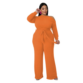 Women's Plus Size Solid Color Strappy Shoulder T-shirt Flared Pants Suit Nihaostyles Clothing Wholesale NSBMF80099