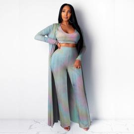Women's High Elastic Pit Strip Tie-dye Three-piece Suit Nihaostyles Clothing Wholesale NSBMF80100