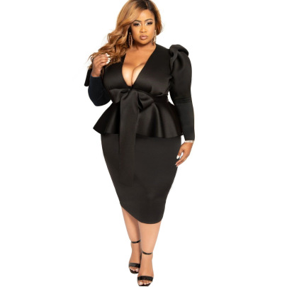 Women's Plus Size Bowknot Long-sleeved Dress Nihaostyles Clothing Wholesale NSBMF80101