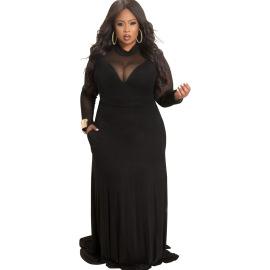 Women's Long-sleeved High-neck Mesh Stitching Plus Size Dress Nihaostyles Clothing Wholesale NSBMF80102