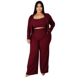 Women Plus Size Sweatshirt Tube Top Bell-bottoms Three-piece Lounge Set Nihaostyles Clothing Wholesale NSBMF80103