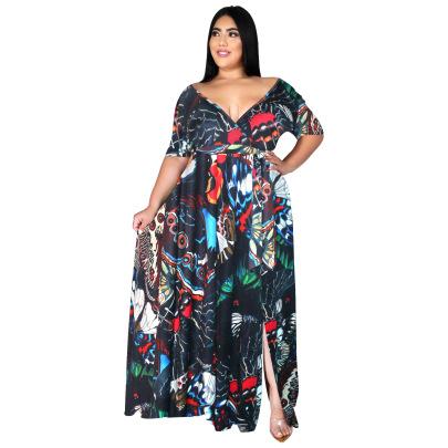 Women's Print Short-sleeved V-neck Bohemian Beach Dress Nihaostyles Clothing Wholesale NSBMF80104