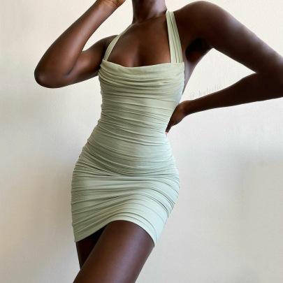 Women's Mesh Open Back Folds Hanging Neck Pile Collar Dress Nihaostyles Clothing Wholesale NSMI80106