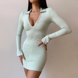 Women's V-neck Pleated Long-sleeved Dress Nihaostyles Clothing Wholesale NSMI80107