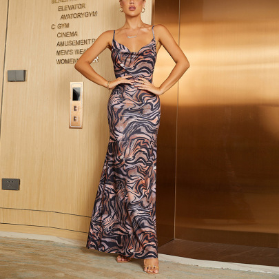 Women's Print Halter Pile Neck Sling Dress Nihaostyles Clothing Wholesale NSMI80108