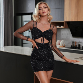 Women's Mesh Hollow Wrapped Chest Lace-up Long Sleeve Dress Nihaostyles Clothing Wholesale NSWX80109