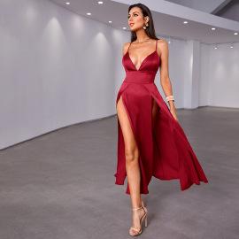 Women's V-neck Sling High Slit Dress Nihaostyles Clothing Wholesale NSWX80117
