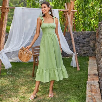 Women's Pleated Waist Sleeveless Ruffled Chest Wrap Sling Dress Nihaostyles Clothing Wholesale NSWX80126