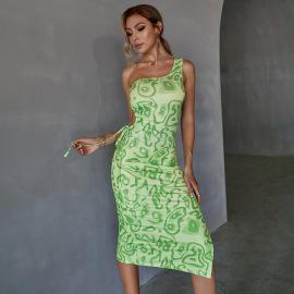 Drawstring Slit Printed Slim Sloping Shoulder Mid-length Dress Nihaostyles Clothing Wholesale NSWX80128