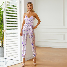 Women's Printed V-neck Halter Suspender Jumpsuit With Bandage Nihaostyles Clothing Wholesale NSWX80131