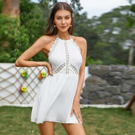 Women's Halter Hollow Halterneck Dress Nihaostyles Clothing Wholesale NSWX80143