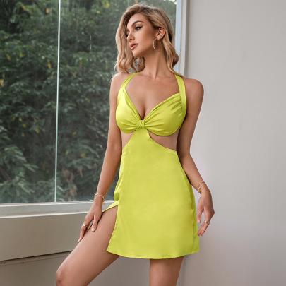 Women's V-neck Halter Neck Open Back Slit Sling Dress Nihaostyles Clothing Wholesale NSWX80145
