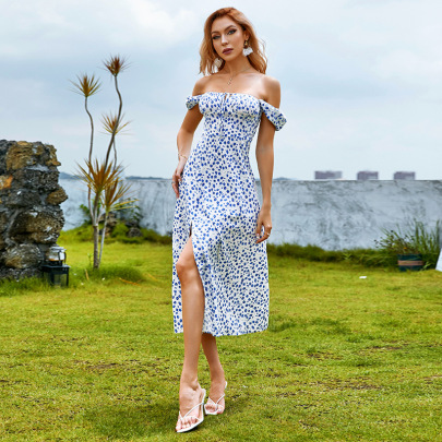 Women's High-waisted Puff Sleeve Mid-length Printed Dress Nihaostyles Clothing Wholesale NSWX80148