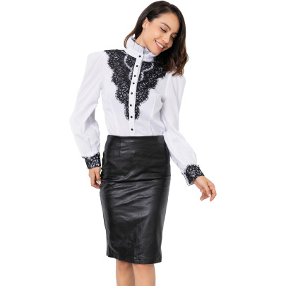 Women's High-neck Splicing Long-sleeved Shirt Nihaostyles Clothing Wholesale NSJM80153