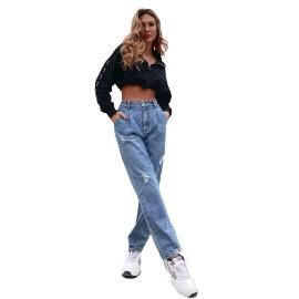 Women's High Waist Straight Loose Wide Leg Jeans Nihaostyles Clothing Wholesale NSJM80154