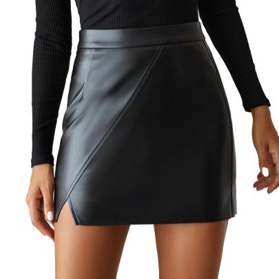 Women's High Waist Irregular PU Leather Short Skirt Nihaostyles Clothing Wholesale NSJM80155