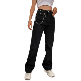 Women's Straight Loose Solid Color Jeans Nihaostyles Clothing Wholesale NSJM80158