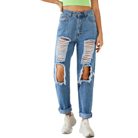 Women's High-waist Ripped Straight Jeans Nihaostyles Clothing Wholesale NSJM80160