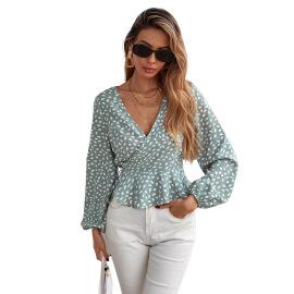 Women's V-neck Polka-dot Long-sleeved Floral Chiffon Shirt Nihaostyles Clothing Wholesale NSJM80163