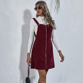 Women's Full-Zipper Corduroy Sling Dress Nihaostyles Clothing Wholesale NSJM80175
