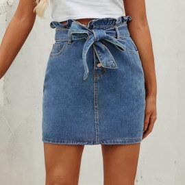 Women's Ruffled High-waist Denim Skirt Nihaostyles Clothing Wholesale NSJM80176