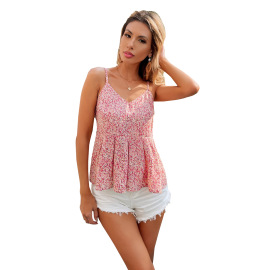 Women's V-neck Halter Printed Lace-up Camisole Nihaostyles Clothing Wholesale NSJM80184
