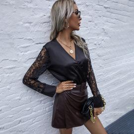 Women's V-neck Lace Jumpsuit Nihaostyles Clothing Wholesale NSJM80188
