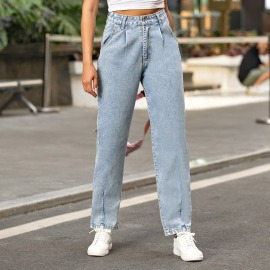 Women's High-waisted Denim Straight Trousers Nihaostyles Clothing Wholesale NSJM80193