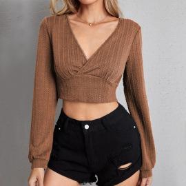 Women's V-neck Slim-fit Twist Fabric Short Long-sleeved T-shirt Nihaostyles Clothing Wholesale NSYSQ80196
