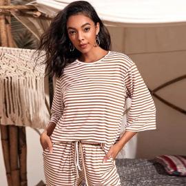 Women's Stripe Printing Loose T-shirt Nihaostyles Clothing Wholesale NSYSQ80198