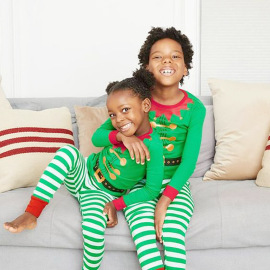 Christmas Stripe Printing Long-sleeved Pajamas Nihaostyles Wholesale Christmas Costumes NSXPF80202