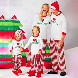 Christmas Print Striped Home Pajamas Nihaostyles Wholesale Christmas Costumes NSXPF80203